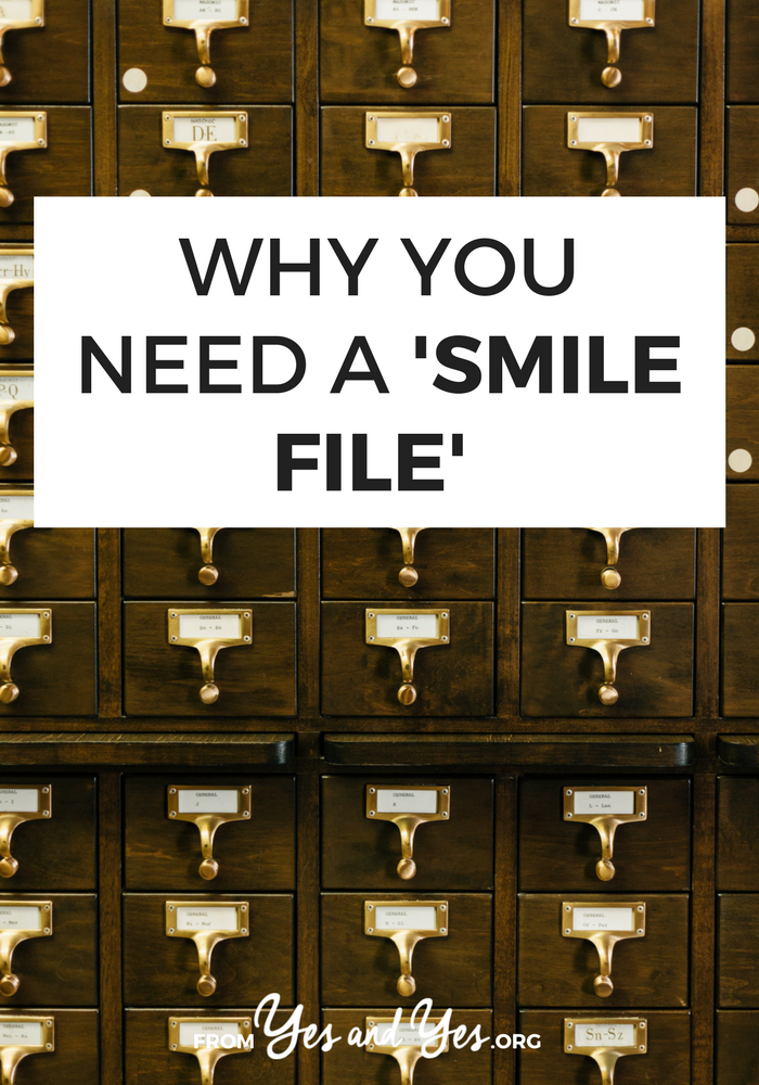 Need some help cheering up? In a bad mood? You need a smile file! Click through to find out what that is and how to make your own!