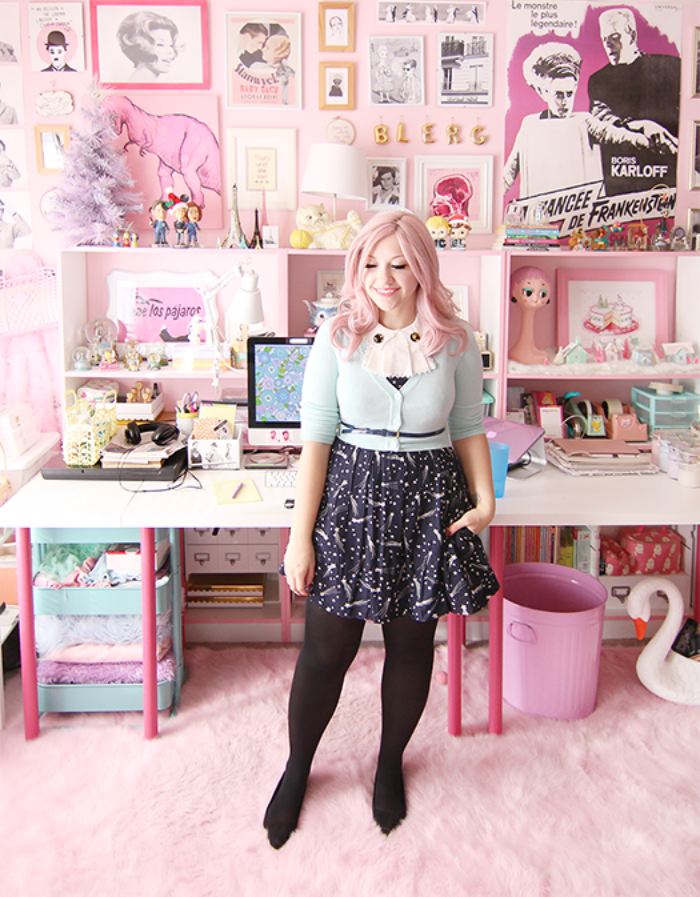a patterned black skirt + budget style tips from a pink-haired style blogger!