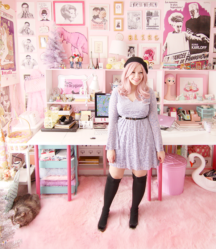a velvet dress with bell sleeves + budget style tips from a pink-haired style blogger!