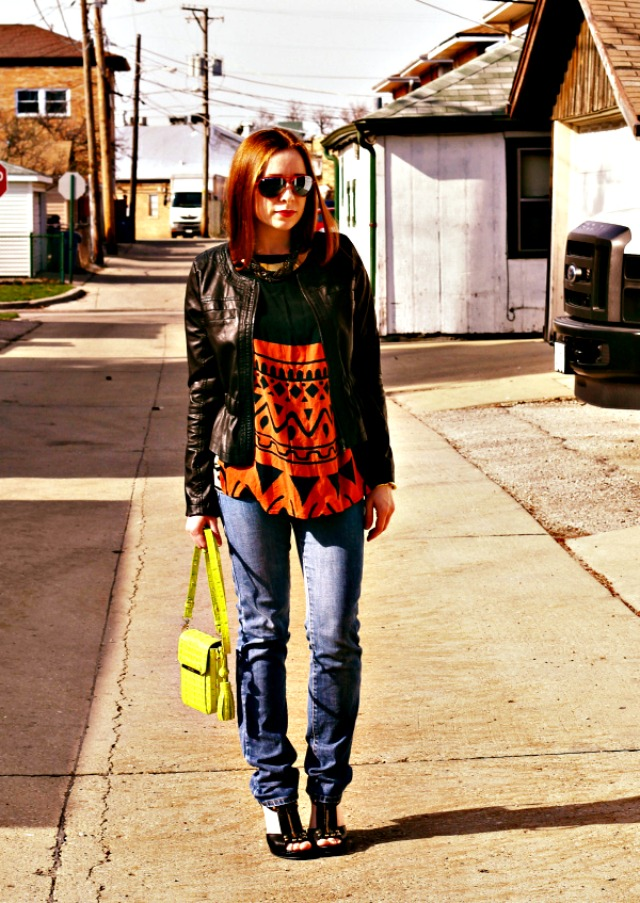 Boyfriend jeans and a leather jacket + style tips from your favorite red head style blogger!