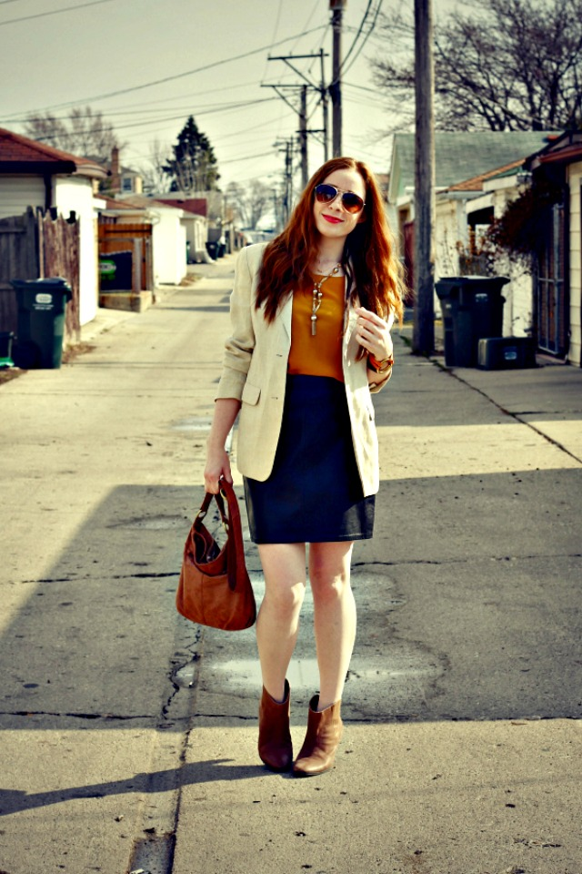 A leather skirt and cream blazer + style tips from your favorite red head style blogger!