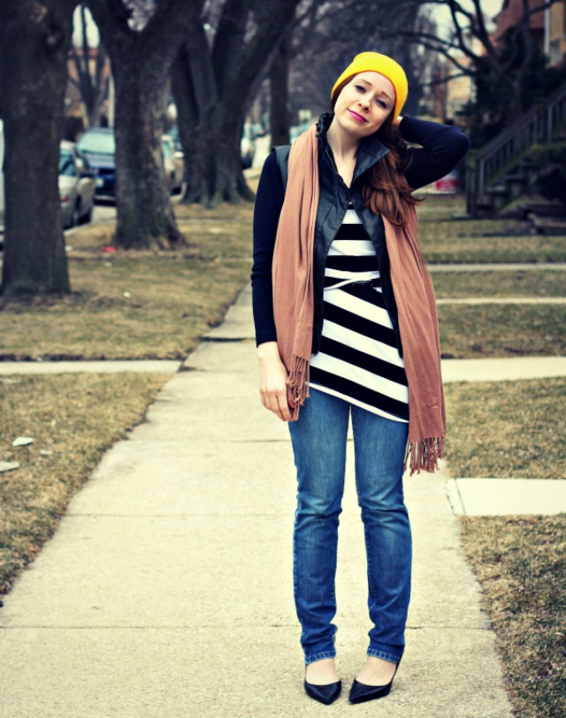 A striped top and skinny jeans + style tips from your favorite red head style blogger!