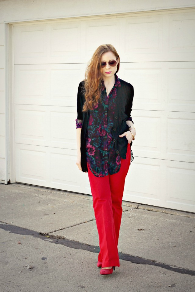 A sheer floral top and red pants  + style tips from your favorite red head style blogger!