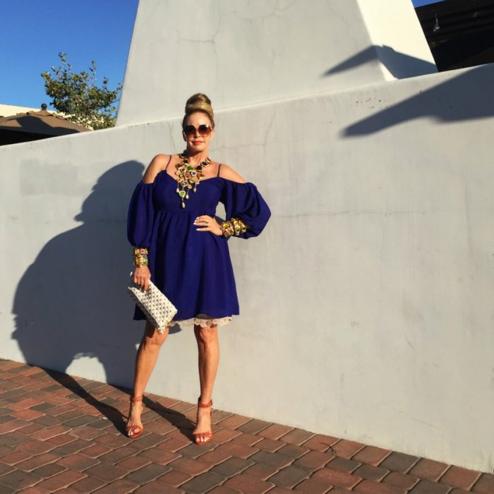 An off the shoulder blue dress + amazing style tips from your new favorite 50+ fashion blogger!