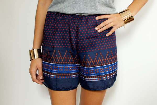 Shorts made from silk scarves