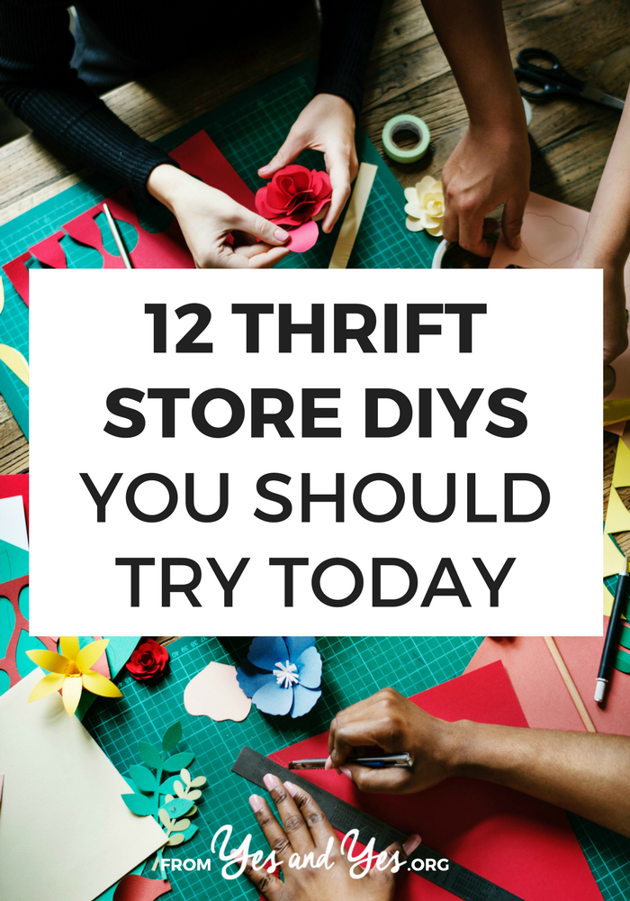 Looking for clever, cheap thrift store DIYs? Click through for DIY ideas for four things you can always find at thrift stores for cheap: hardcover books, vinyl records, silk scarves, and dishes!
