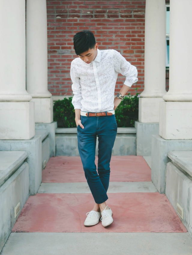 A white lace shirt and teal chinos + style tips from your favorite male fashion blogger!