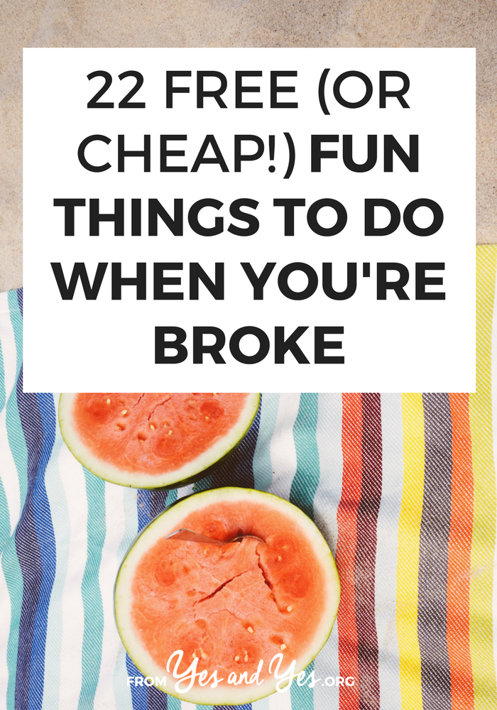 Looking for free things to do? Or fun ideas under $5? Look no further! Click hear to stretch your budget and get a bit outside of your comfort zone! >> yesandyes.org
