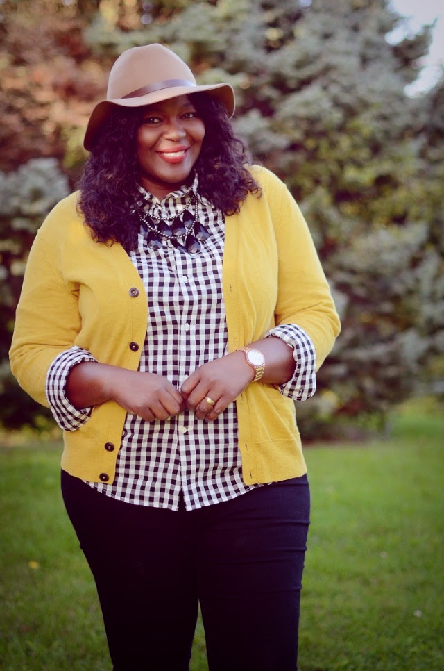 A gingham shirt and yellow cardigan + style tips from your new favorite plus size black fashion blogger!