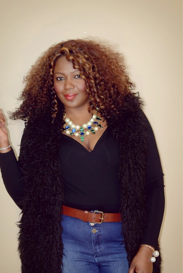 A fur vest with jeans + style tips from your new favorite plus size black fashion blogger!