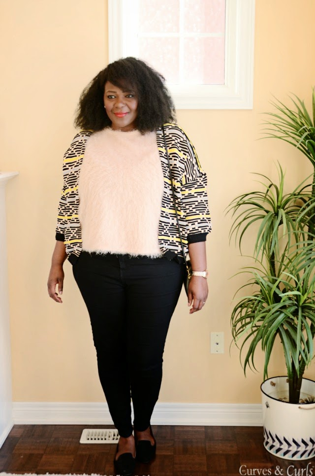 A patterned cardigan + style tips from your new favorite plus size black fashion blogger!