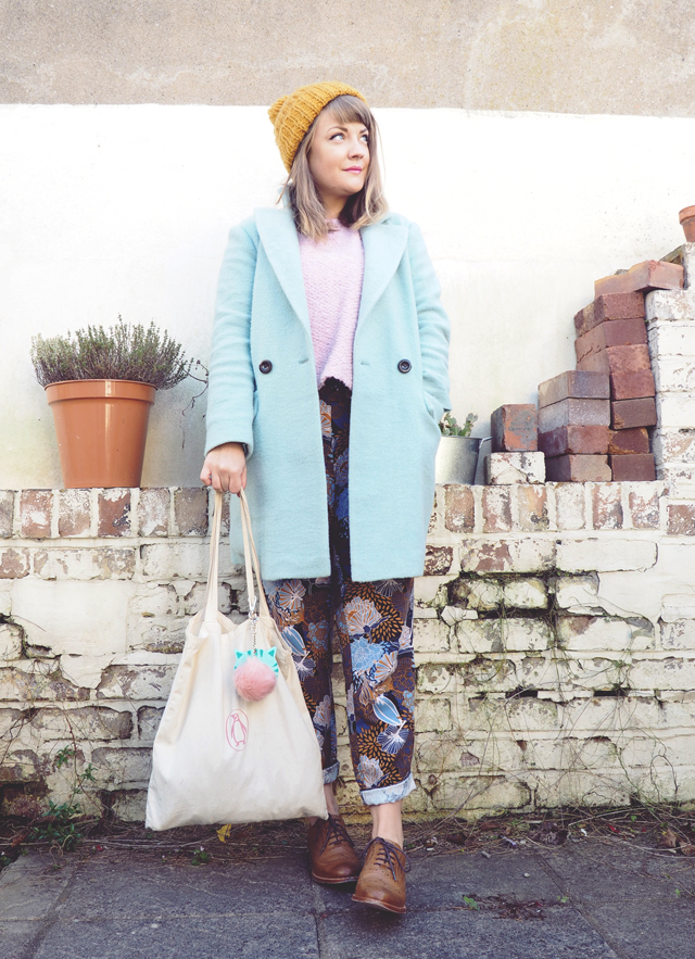 A light blue pea coat and print pants + style tips from your favorite British fashion blogger!