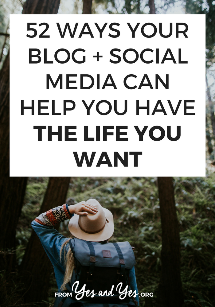 Your blog and social media aren't just a way to get clients or stay up to date with friends. If you're strategic, they can help you change careers, make friends, travel cheaply and easily. Blogging is an opportunity-creator! Click through for 52 ideas on how you can use your online space to create the life you want.