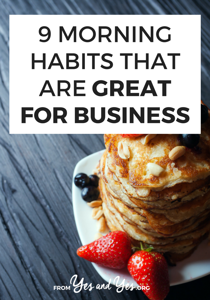 Looking for morning habits that are good for business? Can the right morning routine set up your whole day for success? Absolutely! Click through for 9 morning rituals for entrepreneurs or 9-to-5ers!
