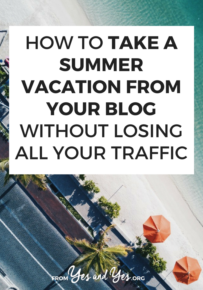 Want to take a blogging break? Put your blog on vacation? You can do it - without losing all your traffic! Click through to find out how!