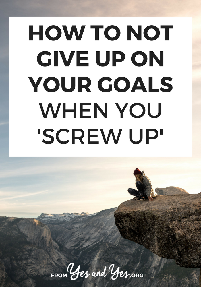 Looking for goal-setting tips? Trying to be more productive or stick to your resolutions? You're more like to reach your goals if you don't give up when you get derailed. Click through to find out how!